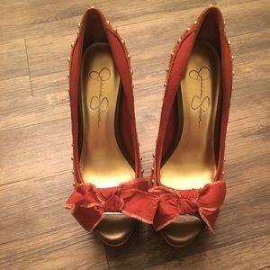 Jessica Simpson Rust studded high heels